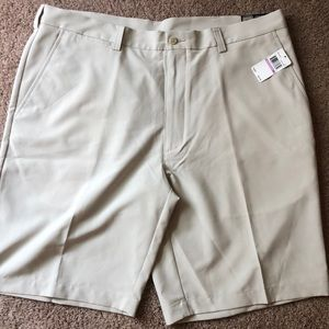 PGA flat front khaki shorts